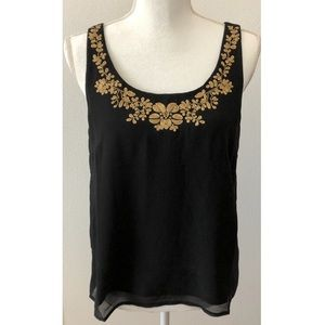 Black Tank Top with Gold Embroidered Flowers